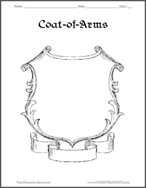 Here is an assortment of free printable coats-of-arms