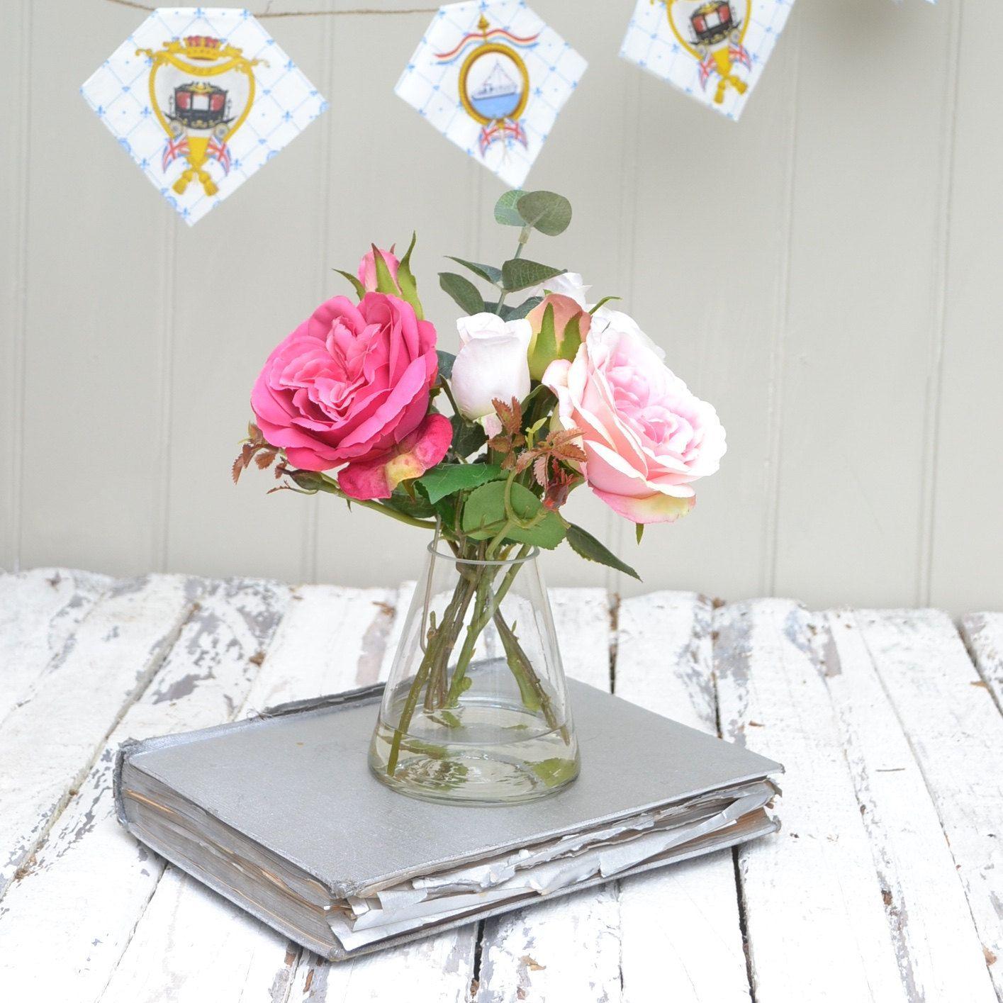 Silk flower bouquet artificial flower bouquet rose bouquet silk flower bouquet artificial flower bouquet rose bouquet pink roses glass vase reviewsmspy
