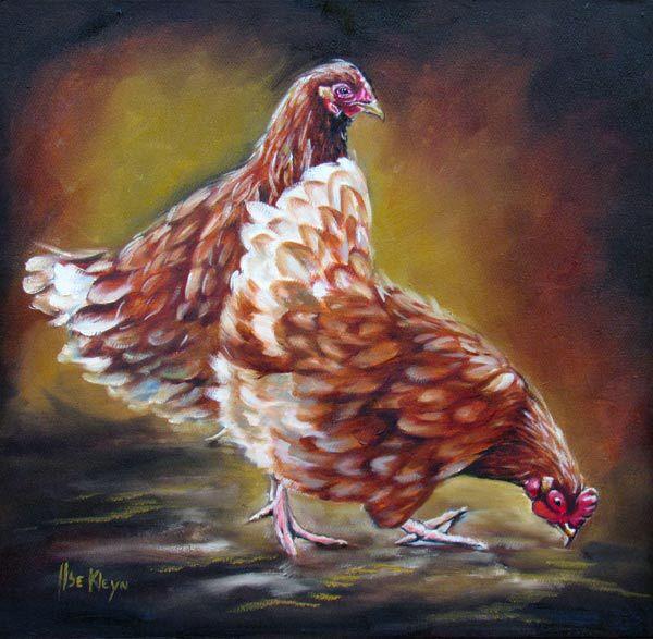 Oil On Canvas 400x400mm Hens Roosters Chickens Poltry Kitchensart Ilsekleyn Schilderen Ideeen Schilder Olieverf