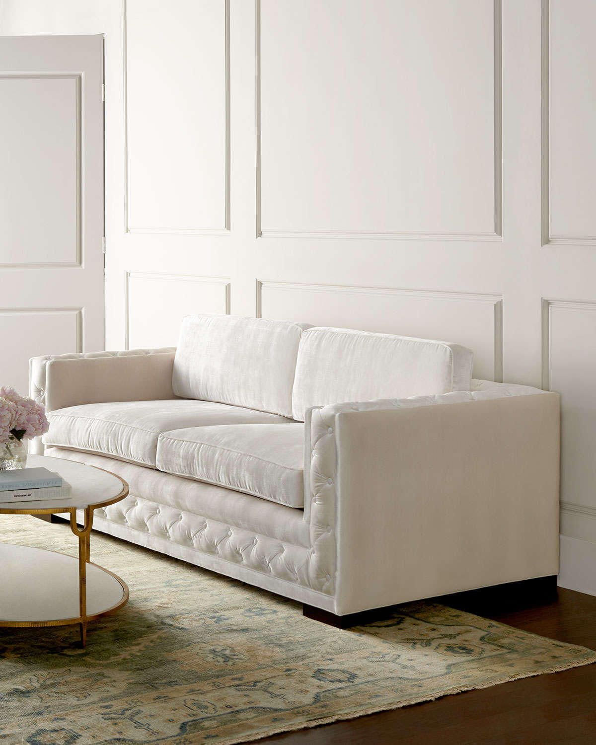 Fall In Love With This Beautiful And Luxurious Cream Colored Tuxedo Sofa This Is Perfect For Mode Contemporary Sofa French Country Sofa Transitional Furniture