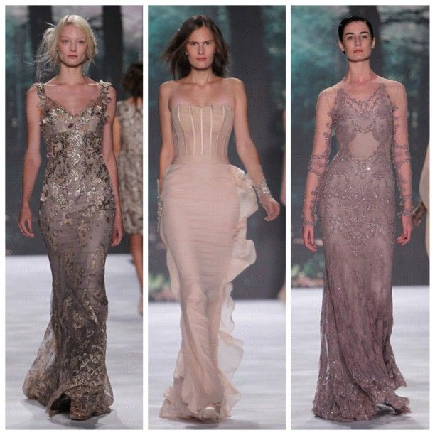 @Badgley Mischka's dresses were elegant and classic with their soft, sheer shades @Mercedes-Benz Fashion Week