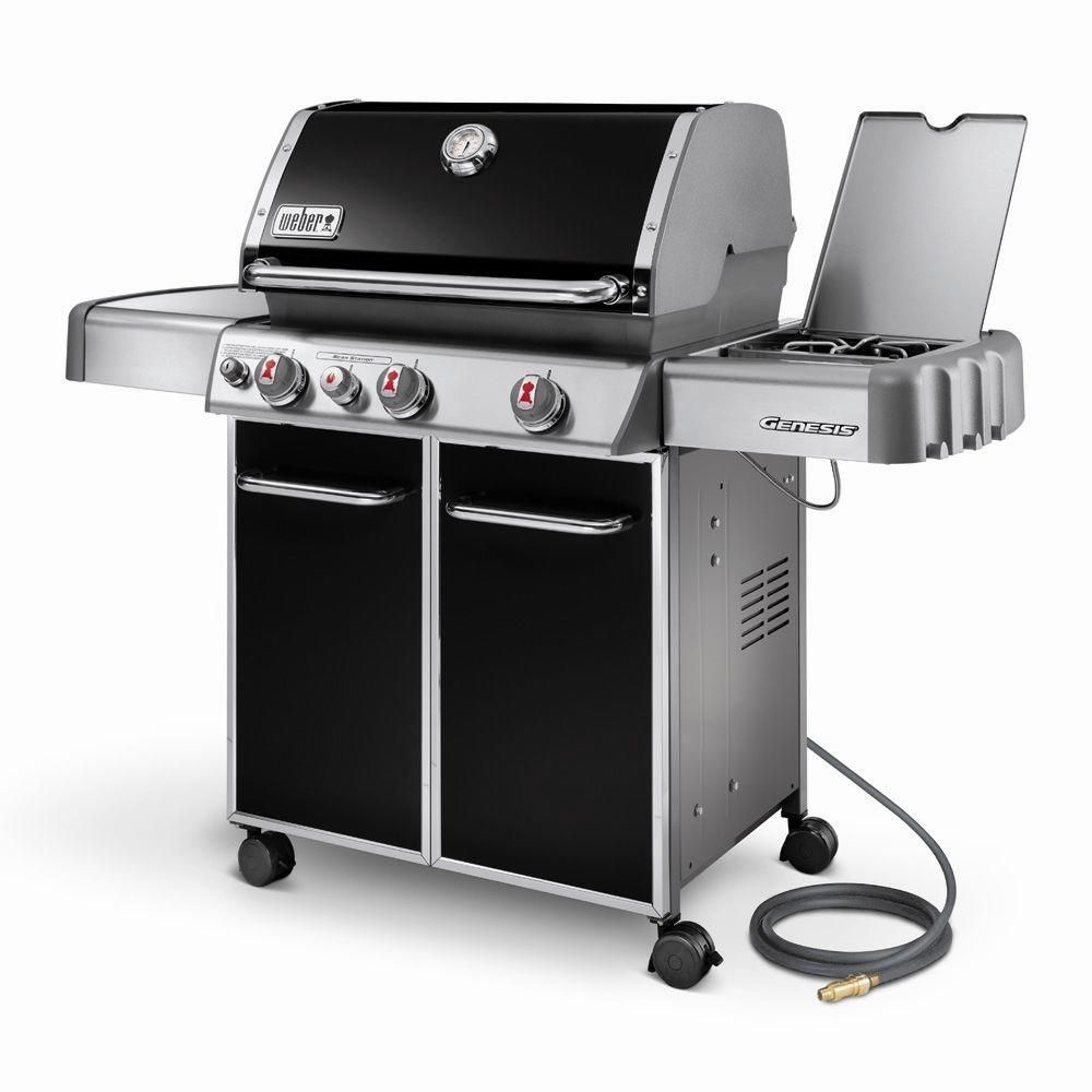 Weber Genesis E 330 3 Burner Natural Gas Grill In Black 6631001 At The Home Depot Gas Grill Reviews Gas Grill Best Gas Grills