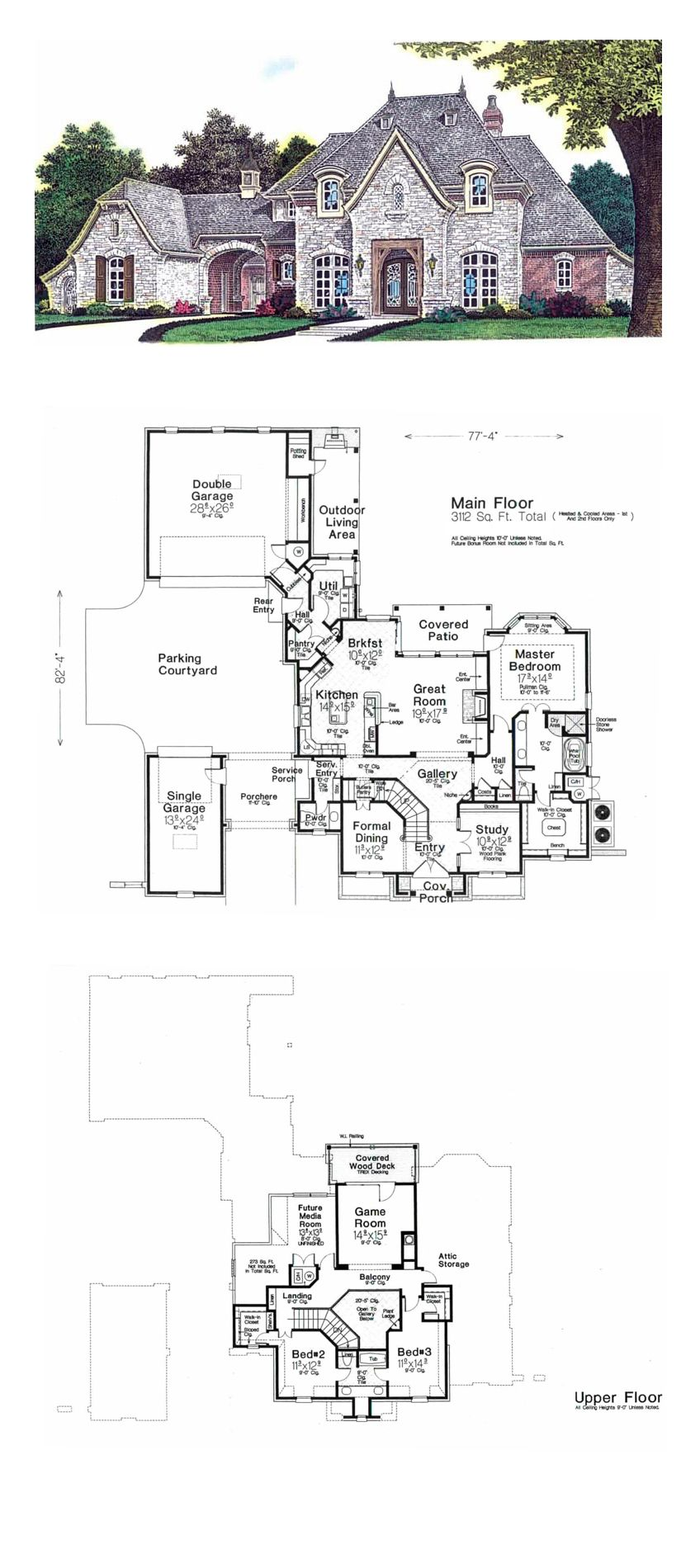 European House Plan 92230 Total Living Area 3112 Sq Ft 3