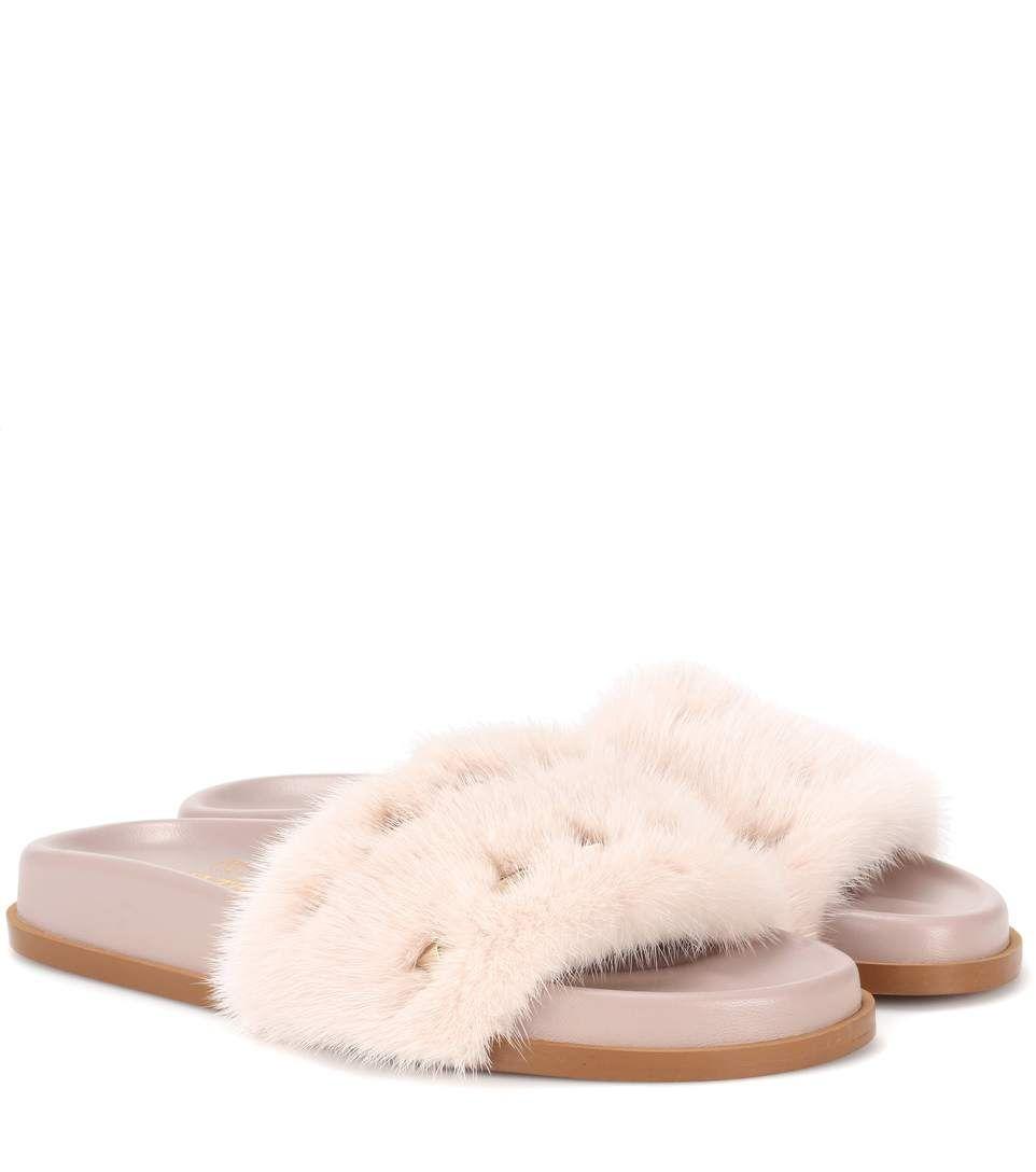 5421e5ff6673 VALENTINO Valentino Garavani Mink Fur Slides.  valentino  shoes  sandals