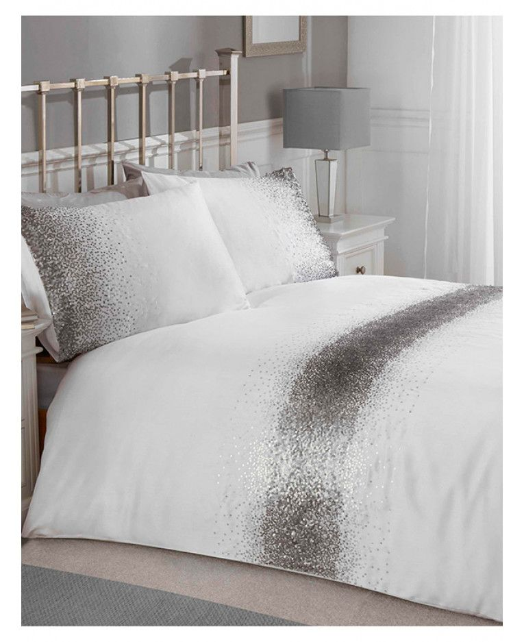 Crushed Velvet Silver Double Duvet Cover Set Adult Bedding Sets