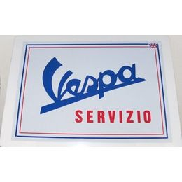 £6.95 Vespa Servizio Wall Plaque. These cool metal wall plaques satisfy any scooter boy, mod, Vespa collector or hip chick around town.