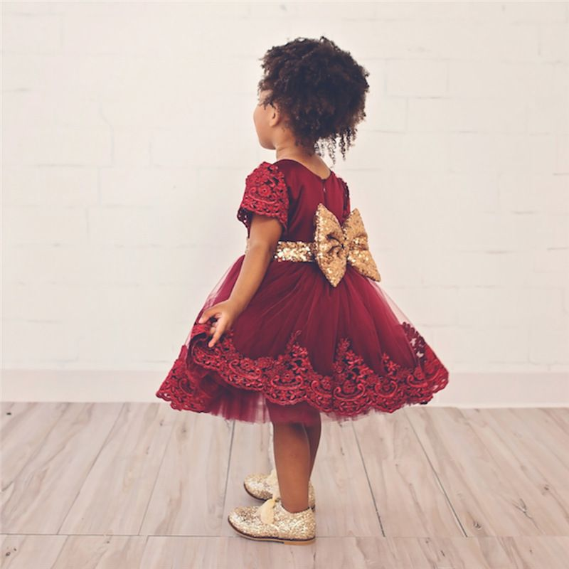 6M 6T baby girls dress summer short sleeve sequin bow tie lace dress ...