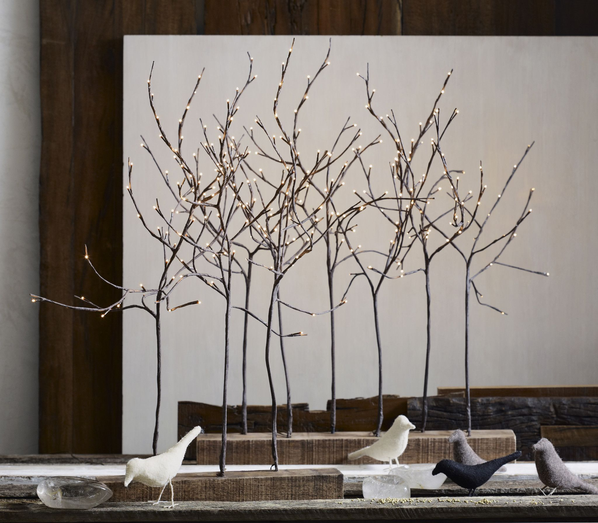 Lighted Branches and Reclaimed Wood for home accessories ideas