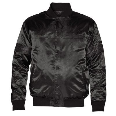 Starter Oakland Raiders Satin Varsity Midweight Button-Up Jacket - Black