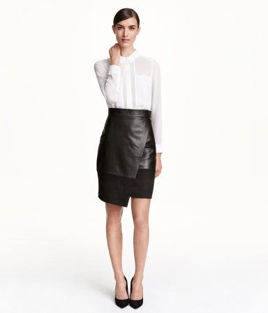 Knee-length black leather & suede wrap skirt with concealed zip ...