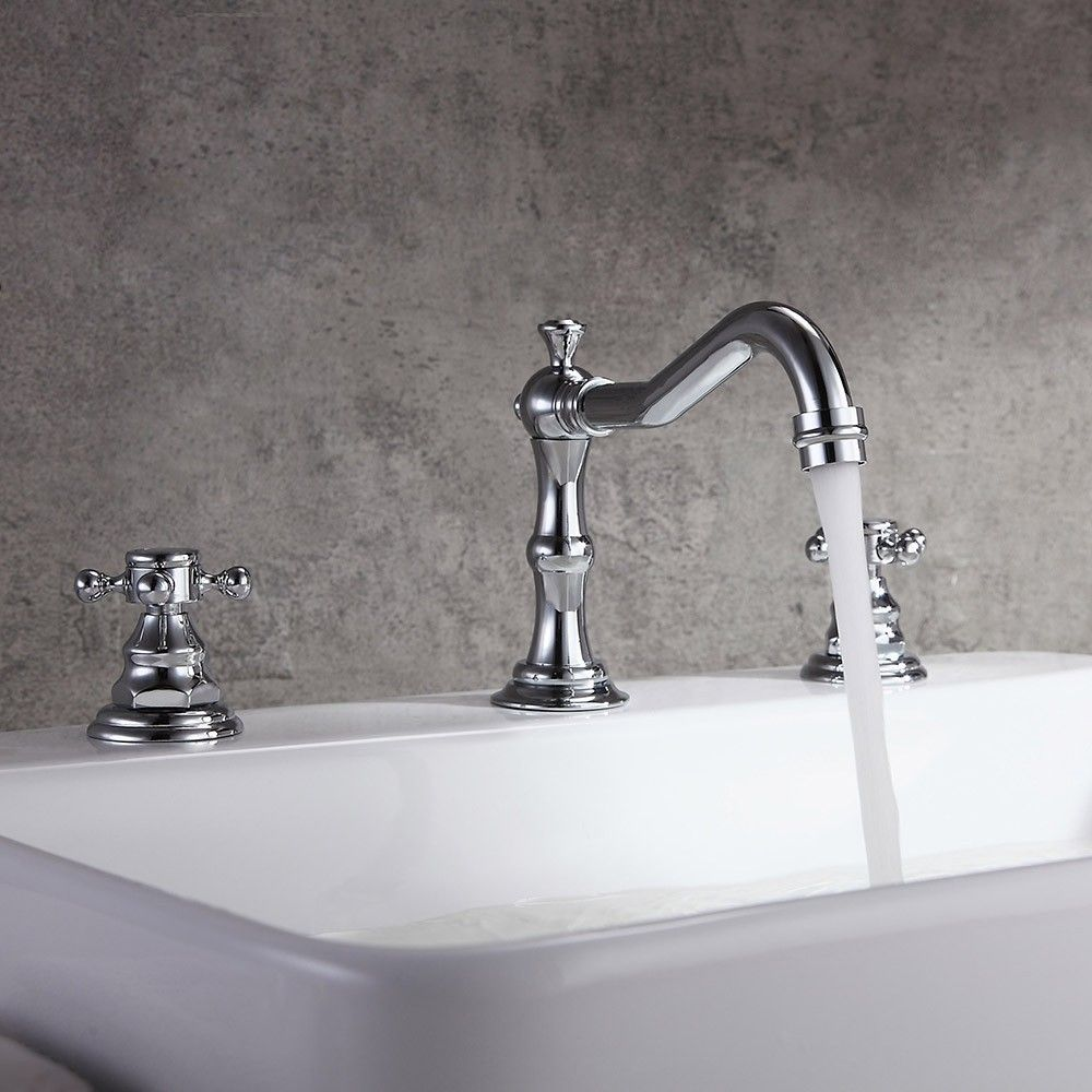 Chester Traditional Double Handle Bathroom Widespread Sink Faucet Victorian Spout In Chrome Antique Black Antique Brass In 2020 Sink Faucets Sink Faucet