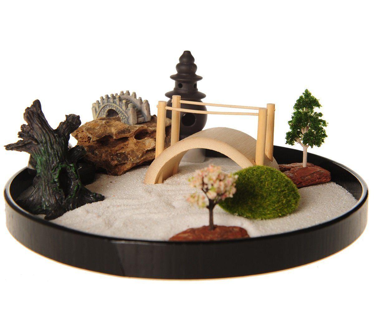 Amazon Com Icnbuys Zen Garden With Boat Bridge Japanese Censers Set With Free Rake And Pushing Sand Pen Zen Garden Diy Miniature Zen Garden Desktop Zen Garden