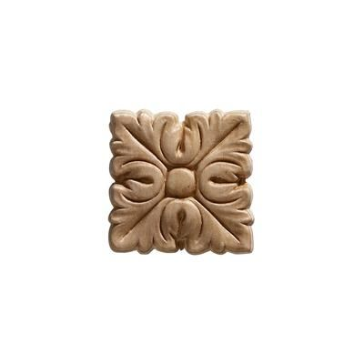 Ornamental Mouldings Embossed Square Acanthus Wood Ornament 2 X 2 8 09 4 Pieces
