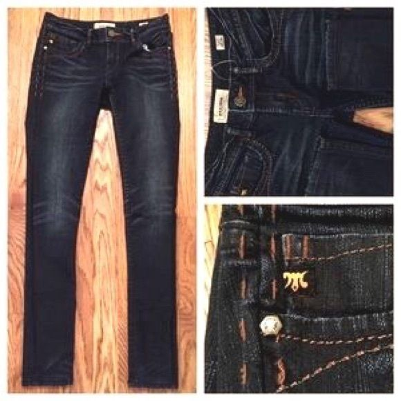 MEK dark wash skinny jeans. These fabulous pants are up for sale. They are 99% cotton and 1% spandex and form perfectly to the butt without squishing. Their dark wash makes them easy to dress up or down. MEK Jeans Skinny