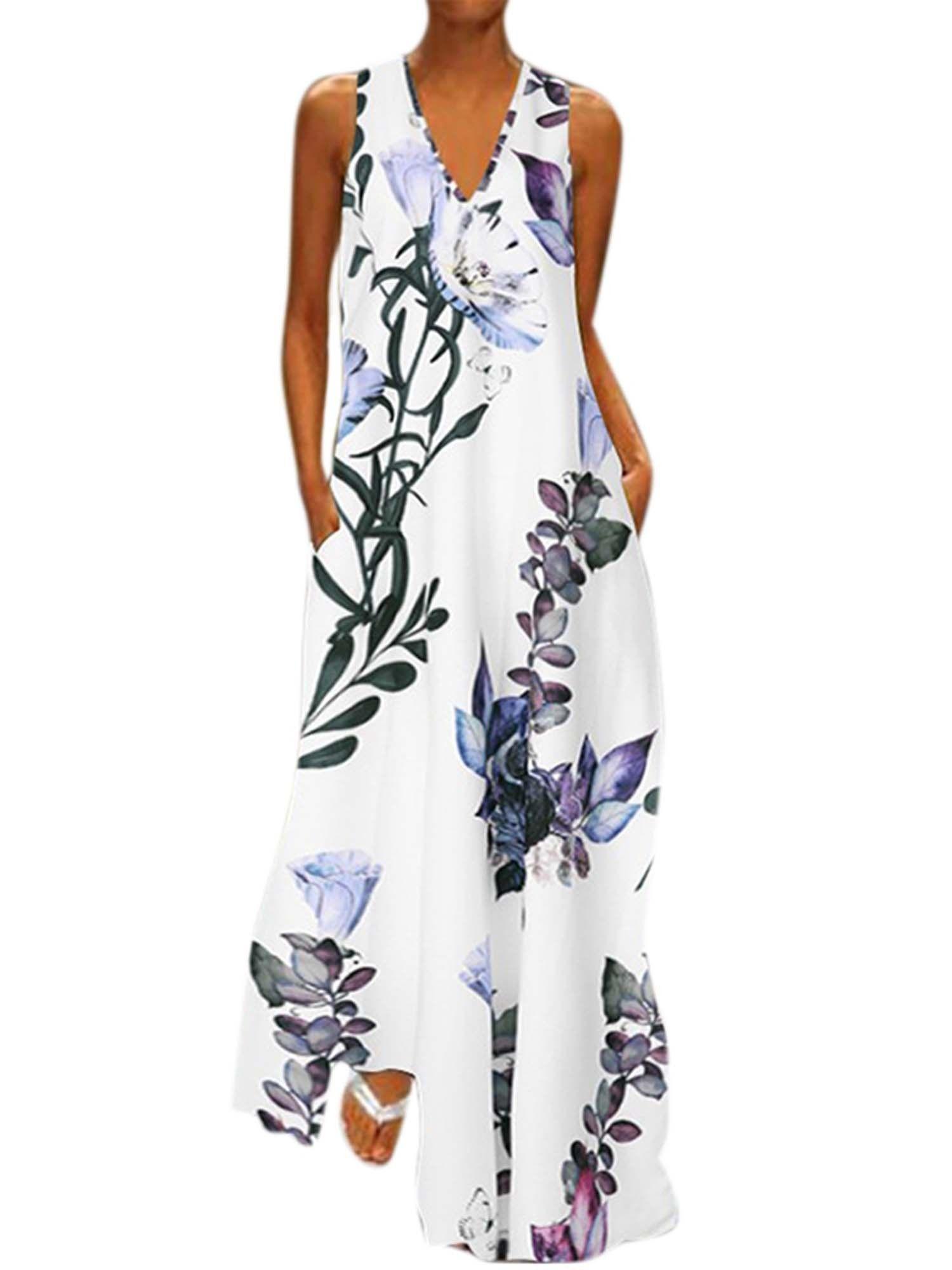 Moloke Women Women S V Neck Boho Floral Sleeveless Maxi Dresses Plus Size Summer Sundress Plus Size Maxi Dresses Maxi Dress Evening Long Maxi Dress [ 2000 x 1500 Pixel ]