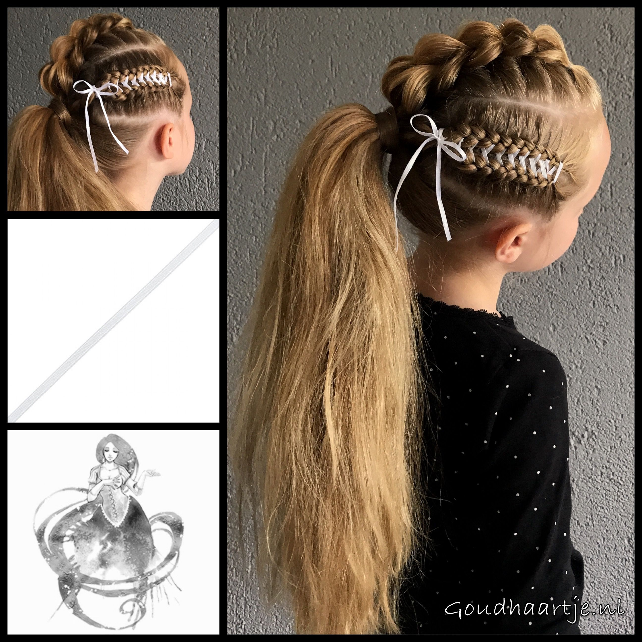 Pull through braid into a ponytail with a corset braid and ribbon