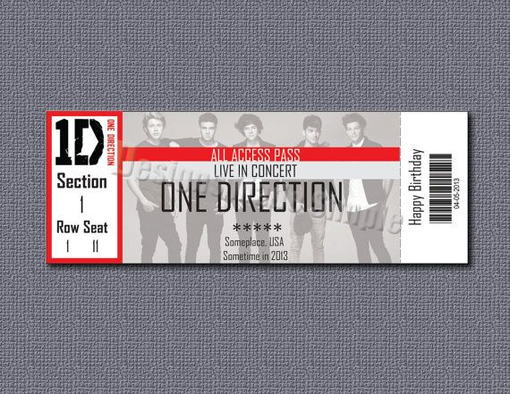 Custom Concert Ticket Gift Certificate One Direction by - concert ticket invitations