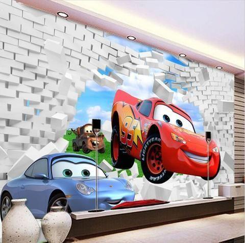 Cars Mcqueen Wall Mural Custom Wallpaper Disney Cars Wallpaper Wall Wallpaper