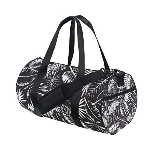 YCHY Seamless Black White Tropical Jungle Pattern Water Resistant Gym Sports with independent zipper Travel Duffel Bag for Women and Men #junglepattern