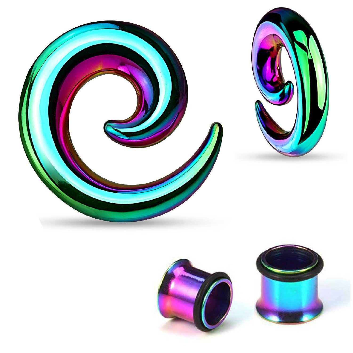 Pair of Acrylic Spirals set tapers plugs gauges Choose Color//Size