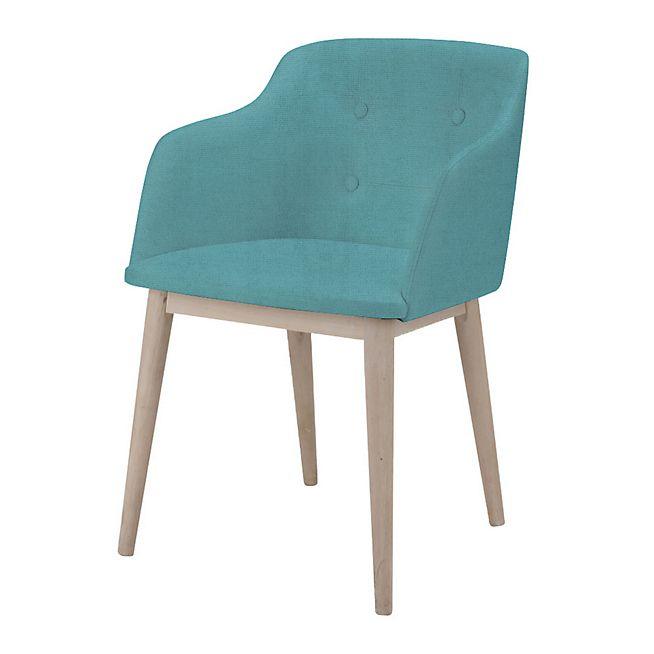 Cork Chaise capitonnée avec accoudoirs en tissu turquoise