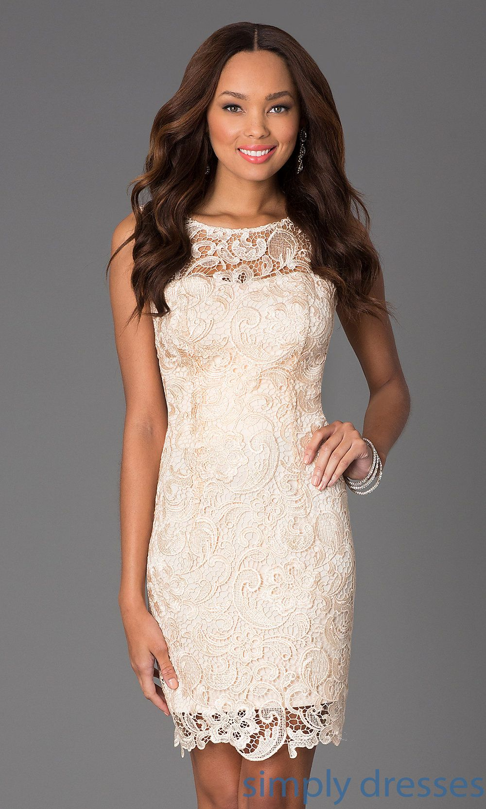 DQ Sleeveless Lace Knee Length Cocktail Dress Lace