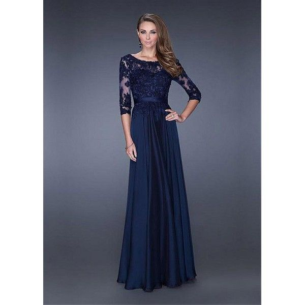 Navy Blue Long Sleeves Evening Gown With Lace Appliques Bodice Long Sleeve Evening Gowns Chiffon Lace Dress Formal Dresses Prom
