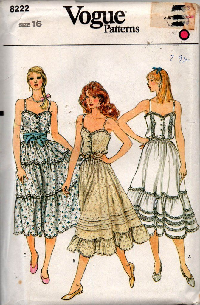 Vogue 8222 Tiered Peasant Skirt & Camisole Top 80s Vintage Sewing ...