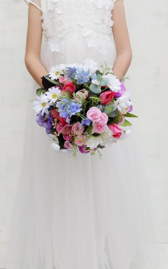 Romantic wildflower bridal bouquet white pink blue purple bridesmaid bouquet artificial silk flowers #bridalbouquetpurple Romantic wildflower bridal bouquet, bridesmaid bouquet or flower girl bouquet, wedding package. Luxury collection. Anemone, wild rose, daisy, delphinium, ranunculus, tulip hydrangea in shades of white, ivory, pink, coral, blue and purple with preserved eucalyptus. Flowers of the highest quality. Handle tied with hessian ribbon. Dimensions approx: Bridal bouquet 11, bridesmai #pinkbridalbouquets