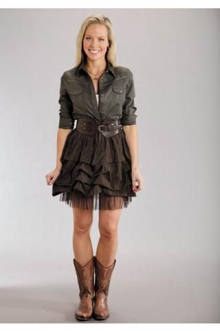 d028909c7e Women s Brown Poly Lawn Short Skirt Stetson Ladies Collection Wi Western  Wear. Cute way to pair button down and skirt.