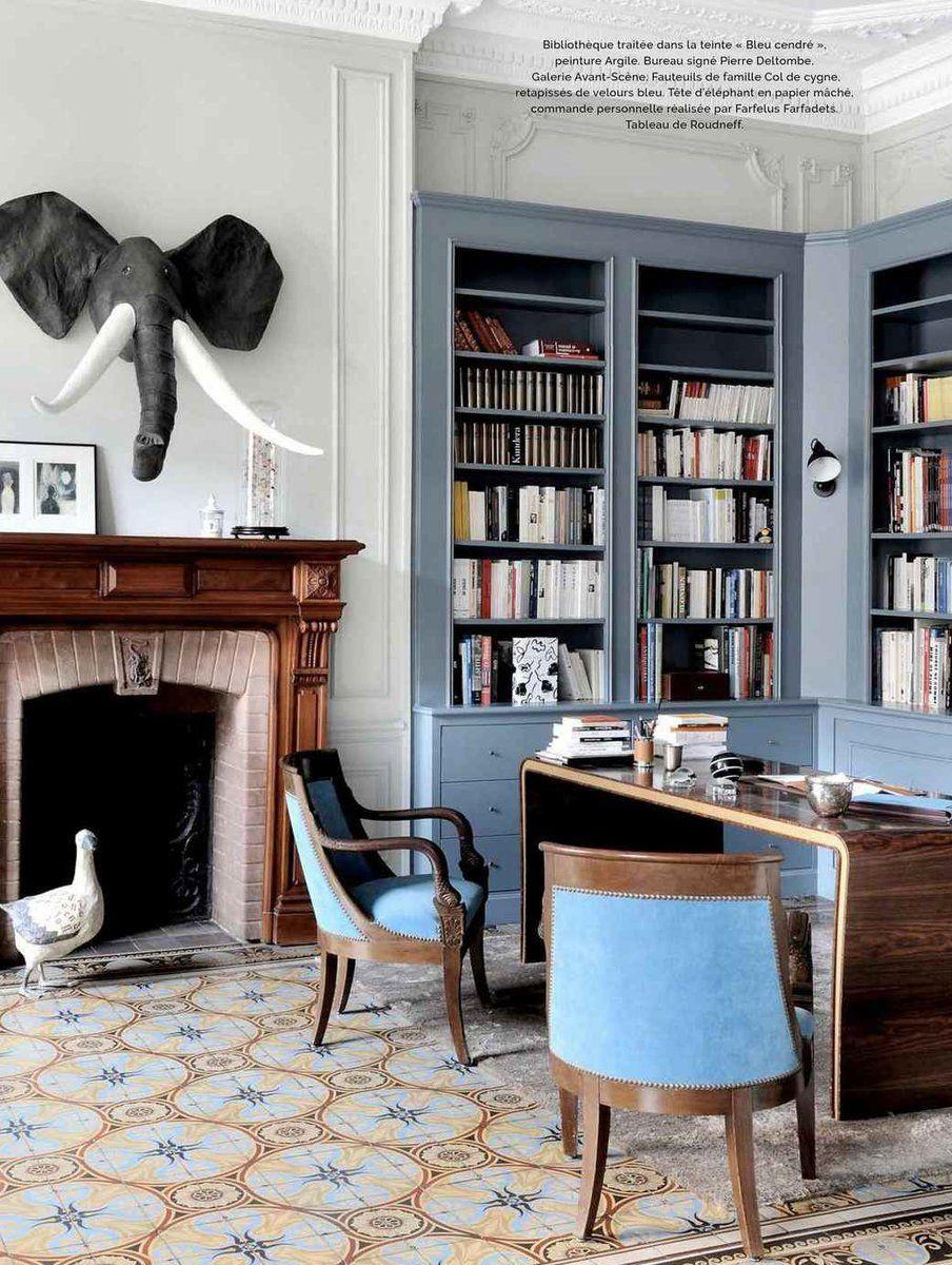 Bibliotheque Traitee Dans La Teinte Bleu Cendre De La Gamme
