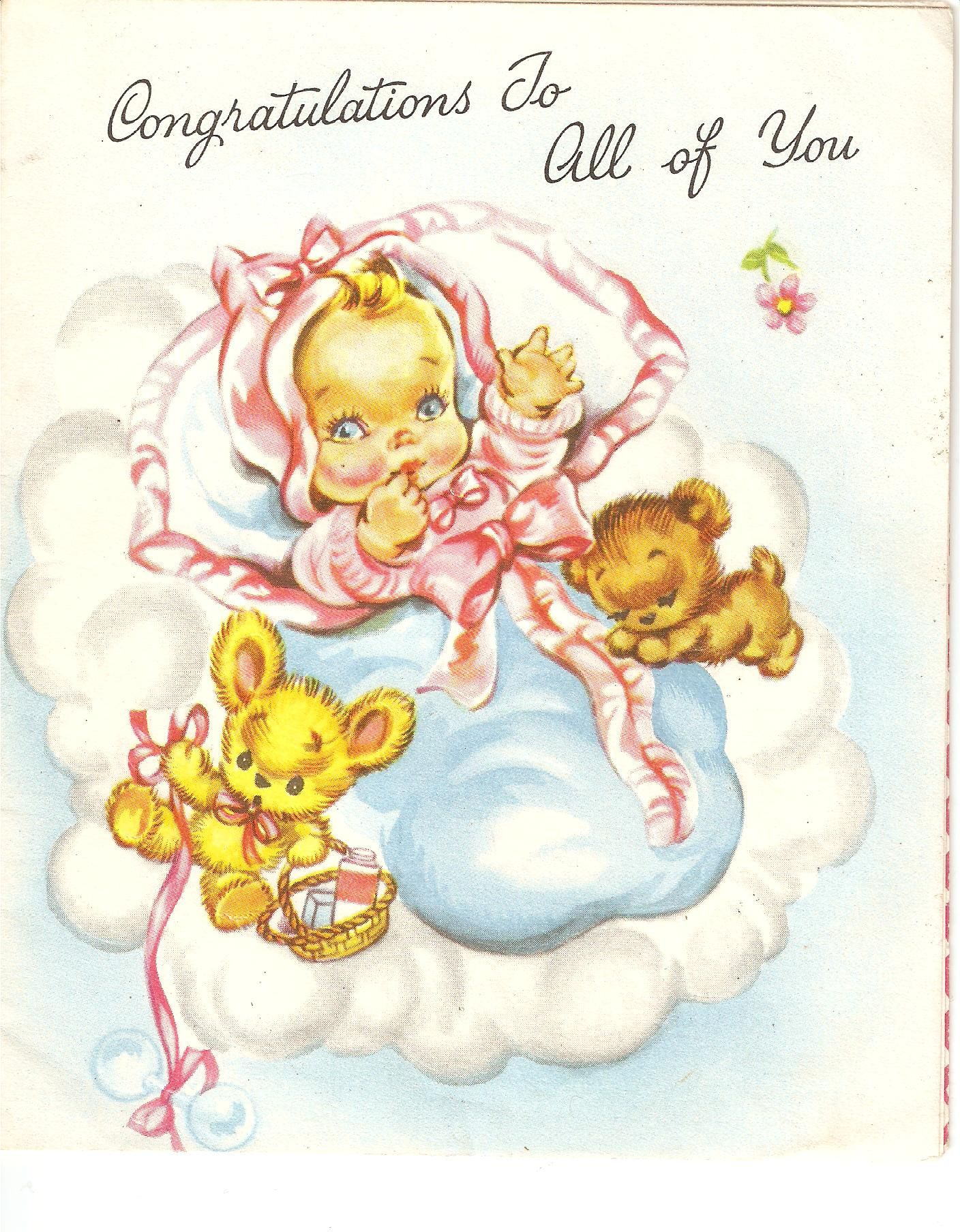 Newborn baby girl greeting card 1960s cards baby pinterest newborn baby girl greeting card 1960s kristyandbryce Gallery