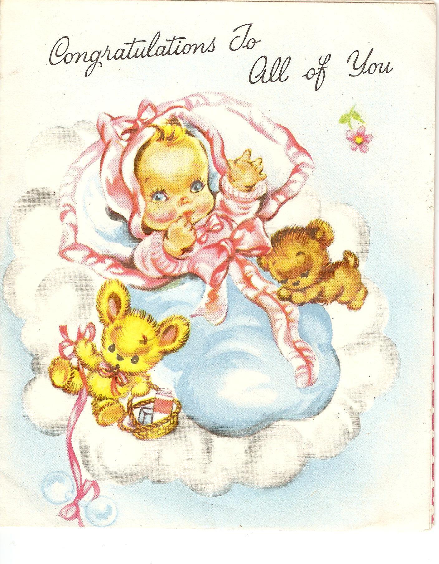 Newborn Baby Girl Greeting Card 1960s Art Cards Precious