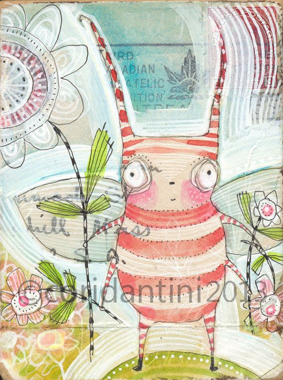 ORIGINAL OOAK, bug with flowers,  whimsical watercolor by cori dantini on Etsy, $40.00