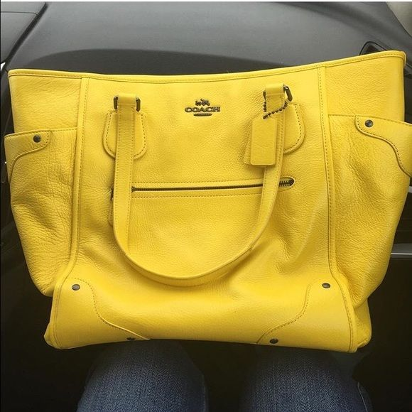 Leather Large Yellow Coach Purse