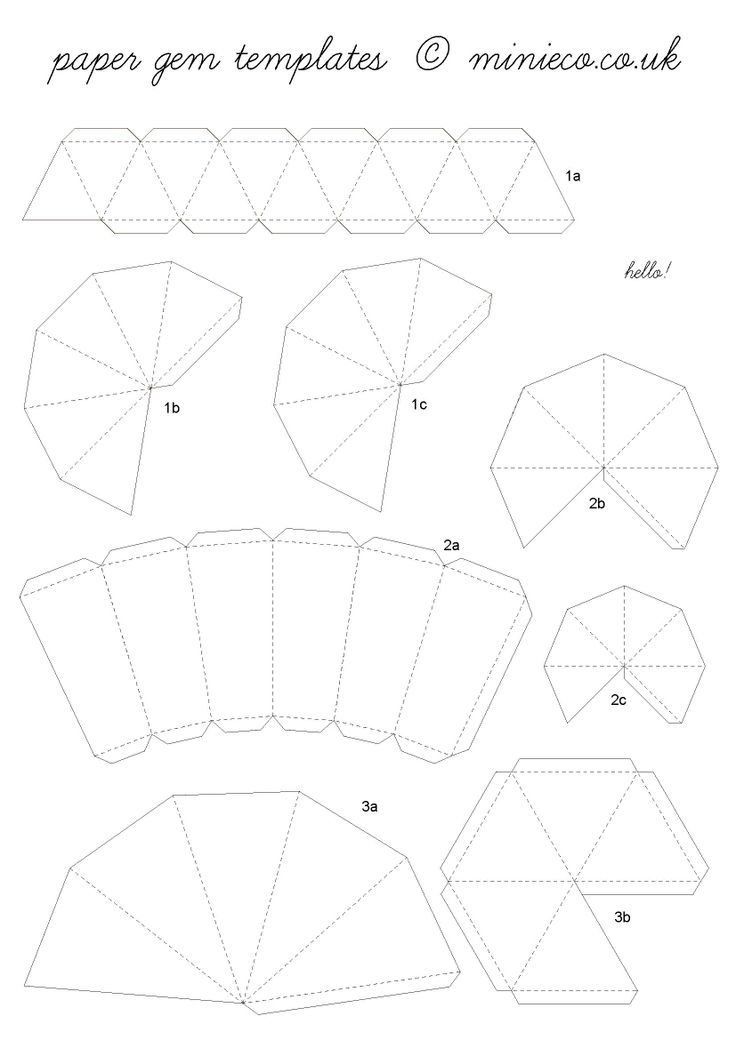 3D Paper Diamonds (with template) — Crafthubs templates