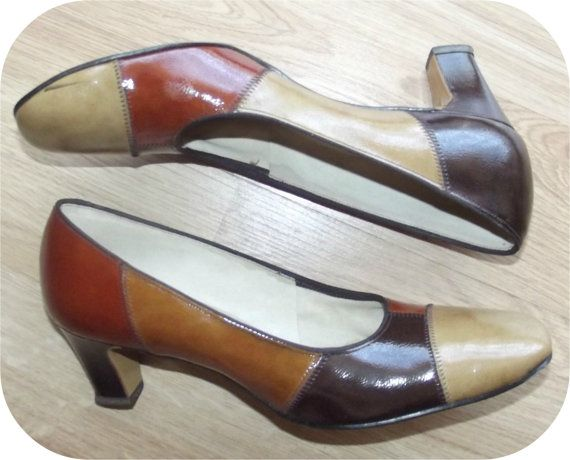 Vintage 60s Brown Patent Leather Patchwork High by IntrigueU4Ever, $24.99