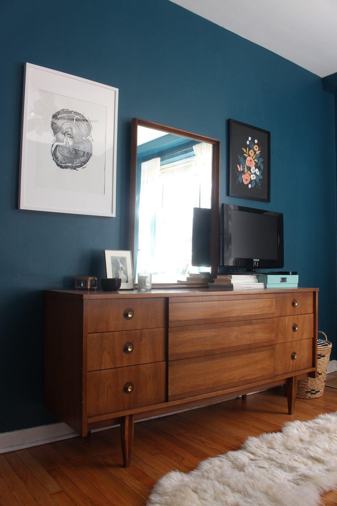 Mid-century dresser, Benjamin Moore Galapagos Turquoise walls, dark ...