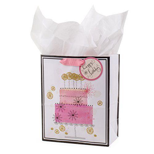 Hallmark Medium Birthday Gift Bag With Tissue Paper Pink Happy Cake To View
