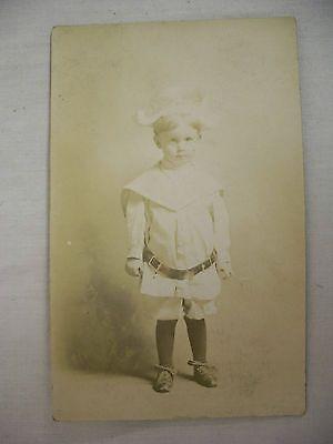 VINTAGE REAL PHOTO POSTCARD STUDIO PORTRAIT OF LITTLE BOY UNUSED