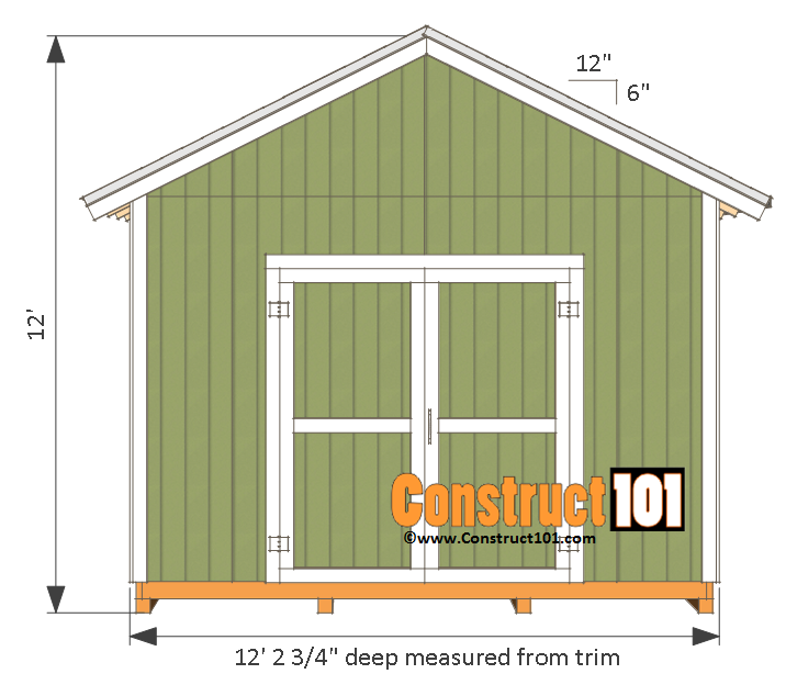 12x12 Shed Plans Gable Shed Construct101 12x12 Shed Floor Plans Square Gazebo Plans For The Garden 12x12 Shed Pl In 2020 Shed Plans Building A Shed Wood Shed Plans