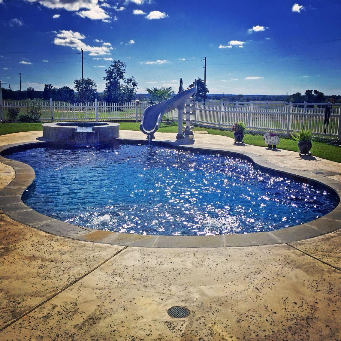 #radius #pool With #slide And #spa #hottub #flagstone #coping · Flagstone Backyard MakeoverOasisPoolsSpaConstructionBuildingSwimming ...