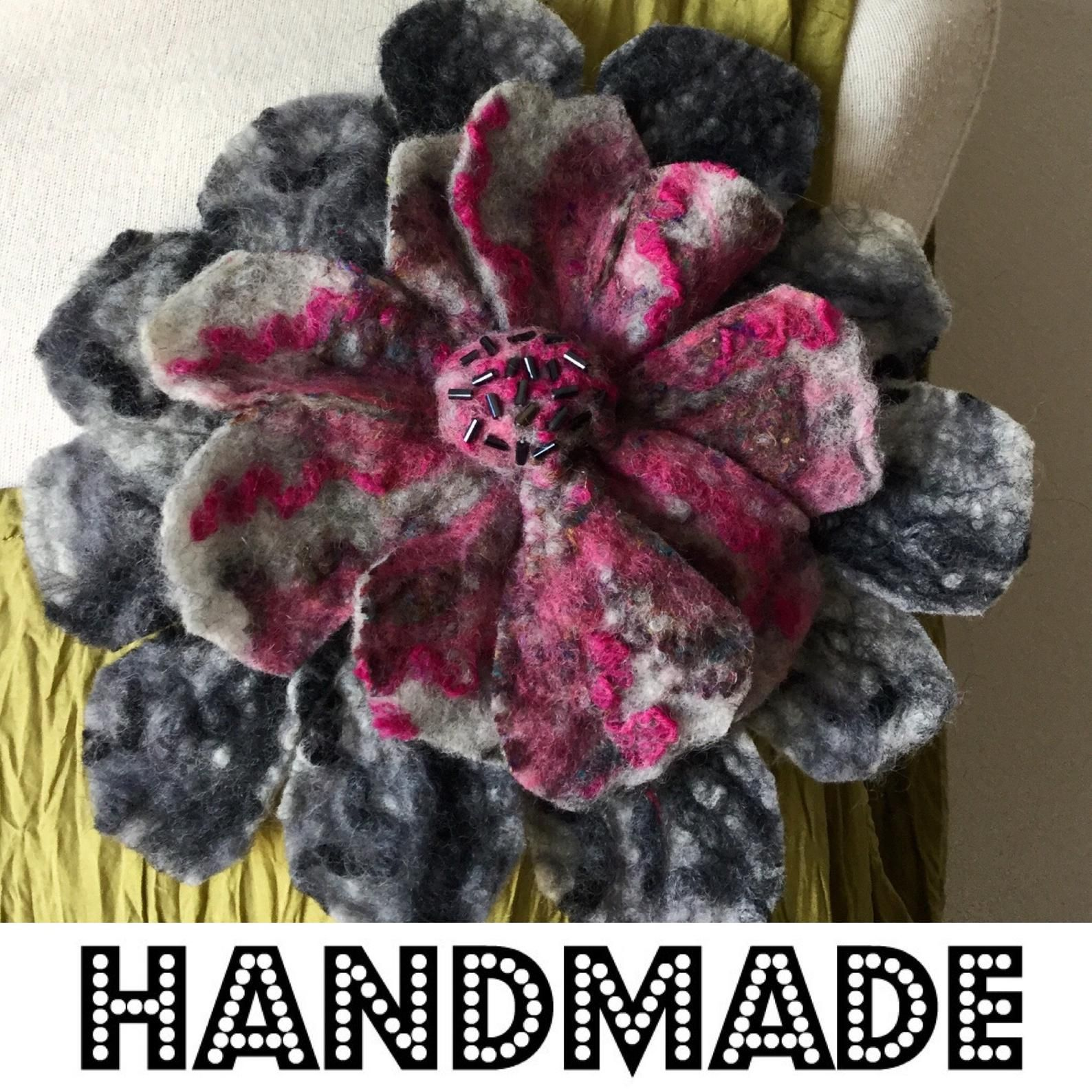 Unique Gift Felted Wool Flower Pin Brooch Corsage Pink Grey Etsy Flower Pins Wool Felt Brooch Corsage