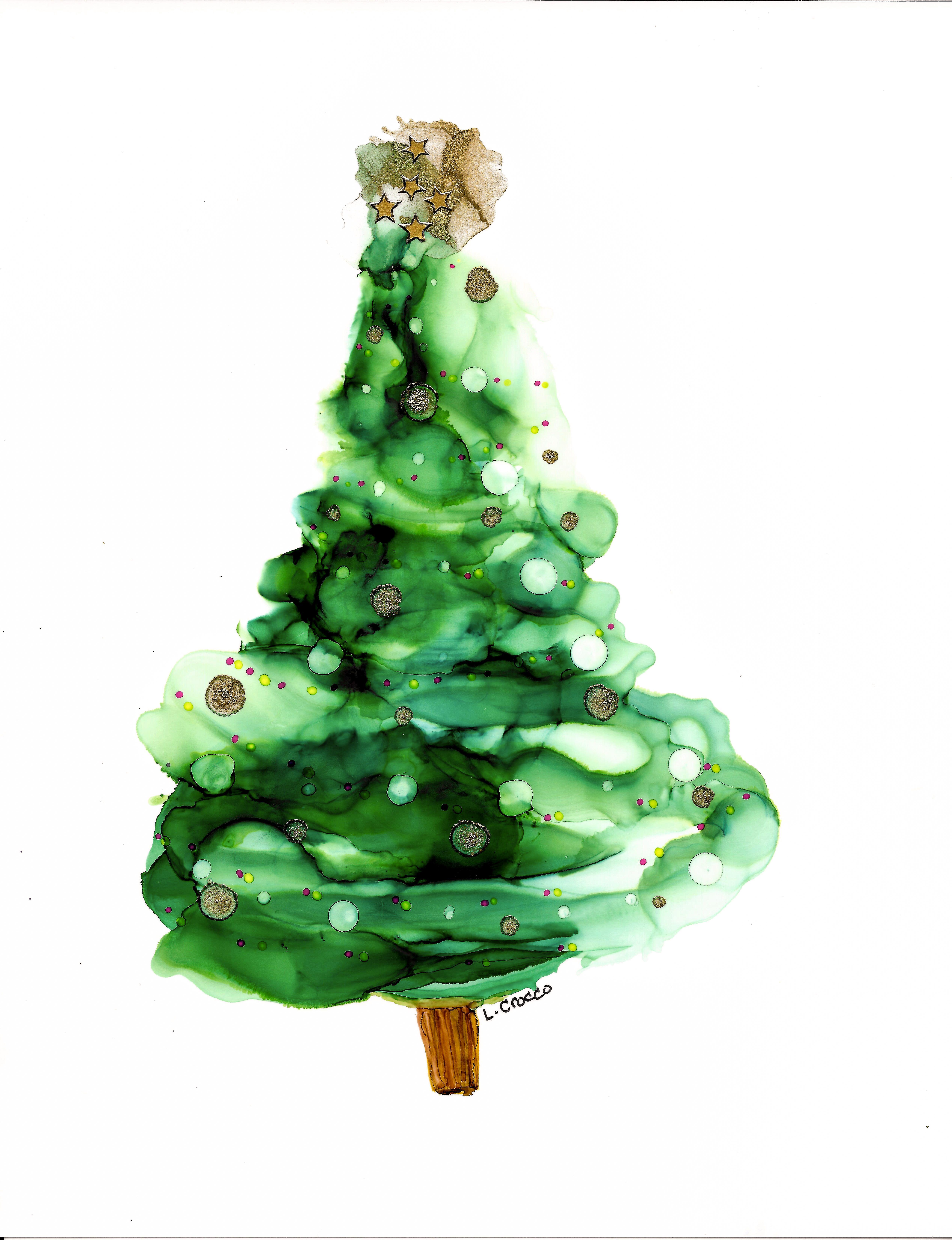 Alcohol Ink Christmas Tree