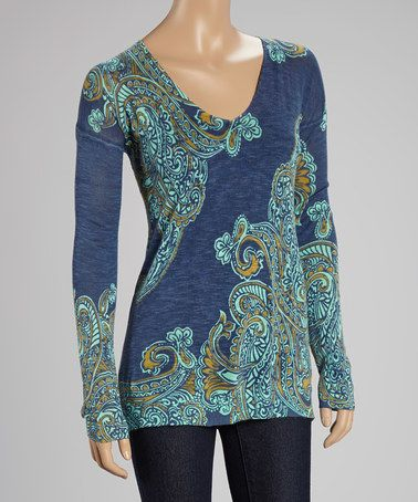 I really like the colors and the fact that it is different!  Green & Blue Paisley Sweater - Women on #zulily! #zulilyfinds