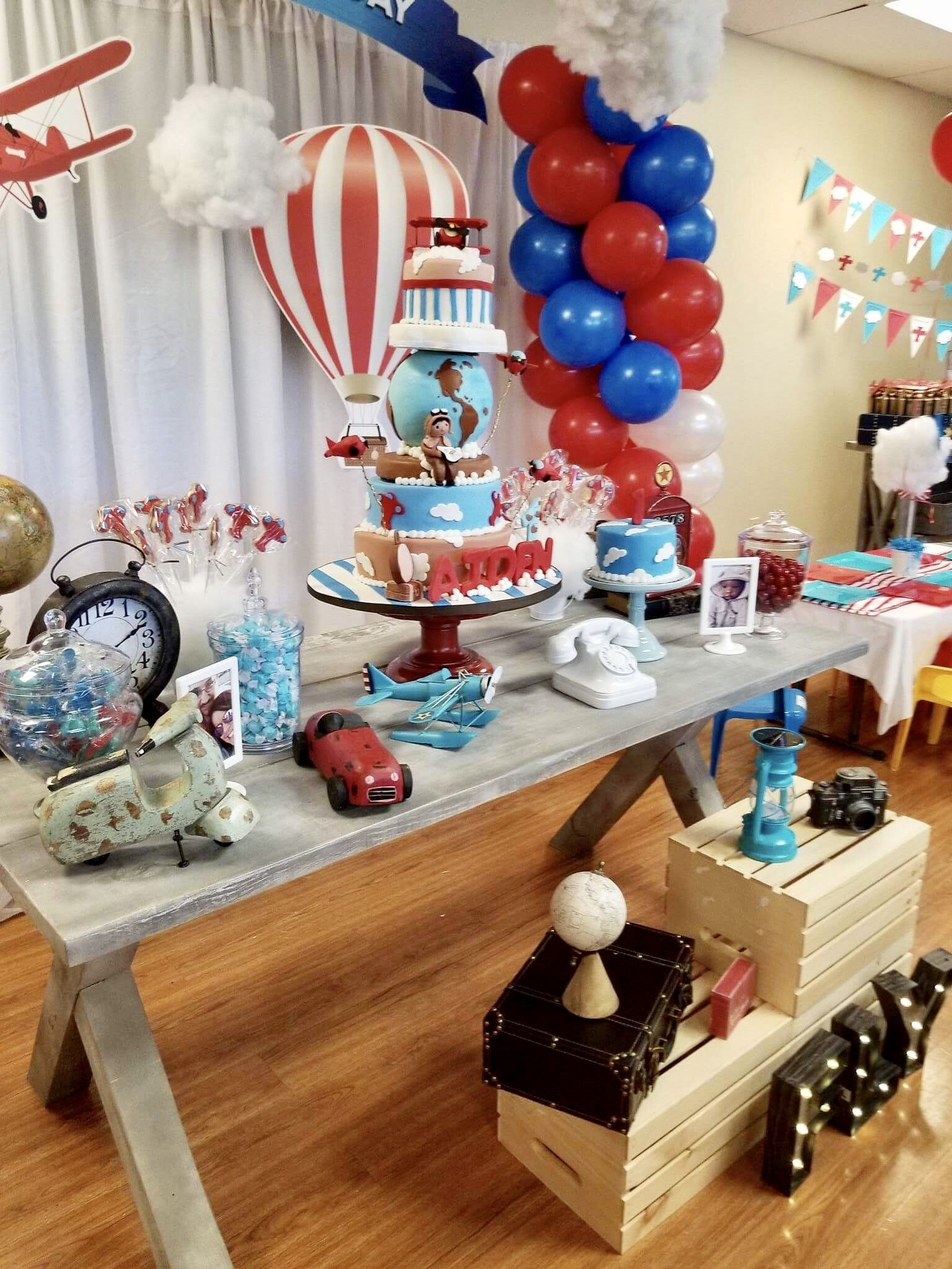 Table Decoration For Vintage Airplane Theme Ideas Boy Birthday 1st Birthday Decorations Airplane Birthday Theme Birthday Theme Decoration