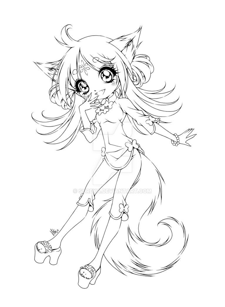 Fox Girl Mermaid Coloring Pages Cute Fox Drawing Cartoon Coloring Pages