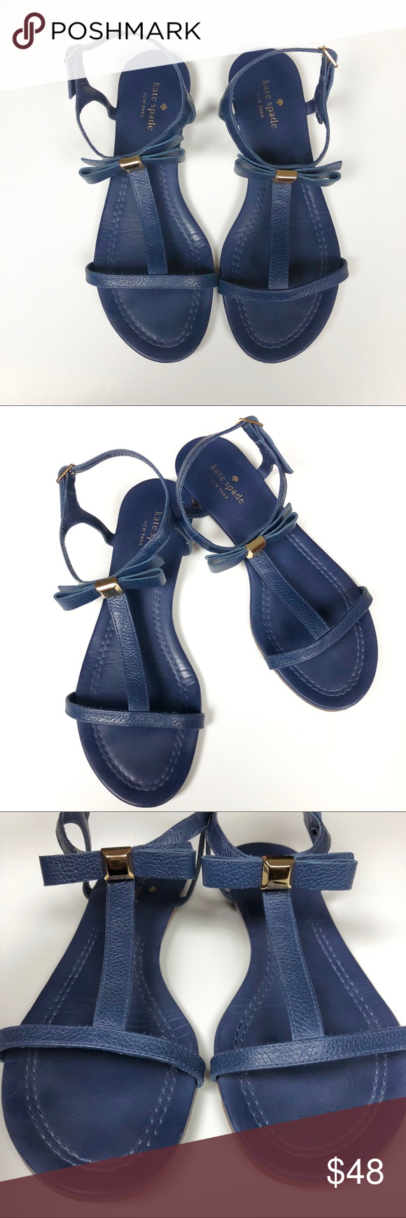 e7ba9c3f4a65 Kate Spade Tessa Navy Bow Leather Flat Sandal Gently worn Kate Spade Tessa  sandal in the color navy. In great condition aside from the small flaw in  the ...