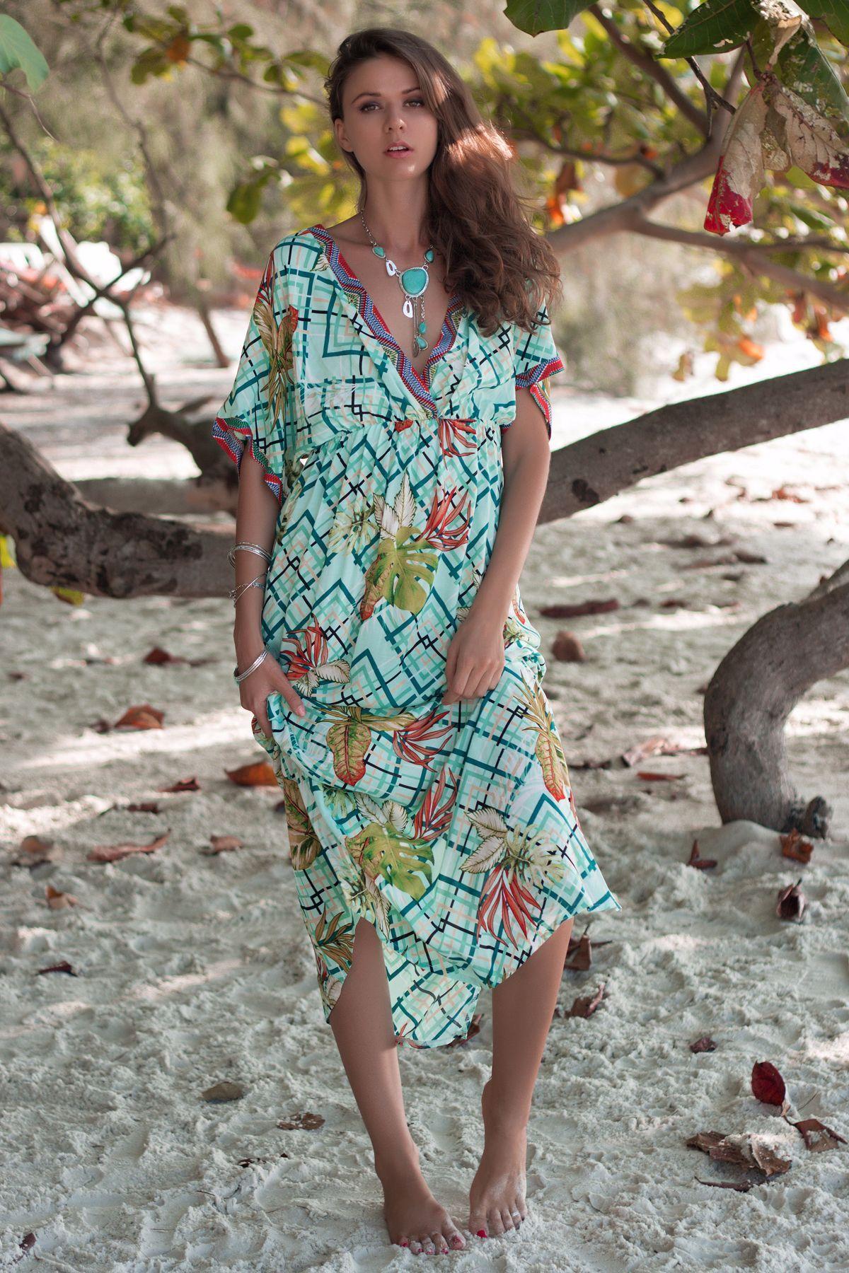 d02358d928 Women v neck Summer style printed holiday dresses Length(cm): Long Closure  Type