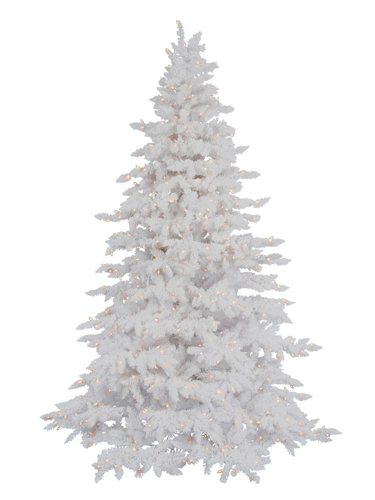 Flocked White Spruce Artificial Christmas Tree With 450 Led Warm Lights Stand